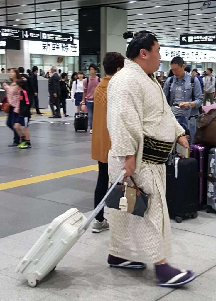 Sumotori viajando en tren