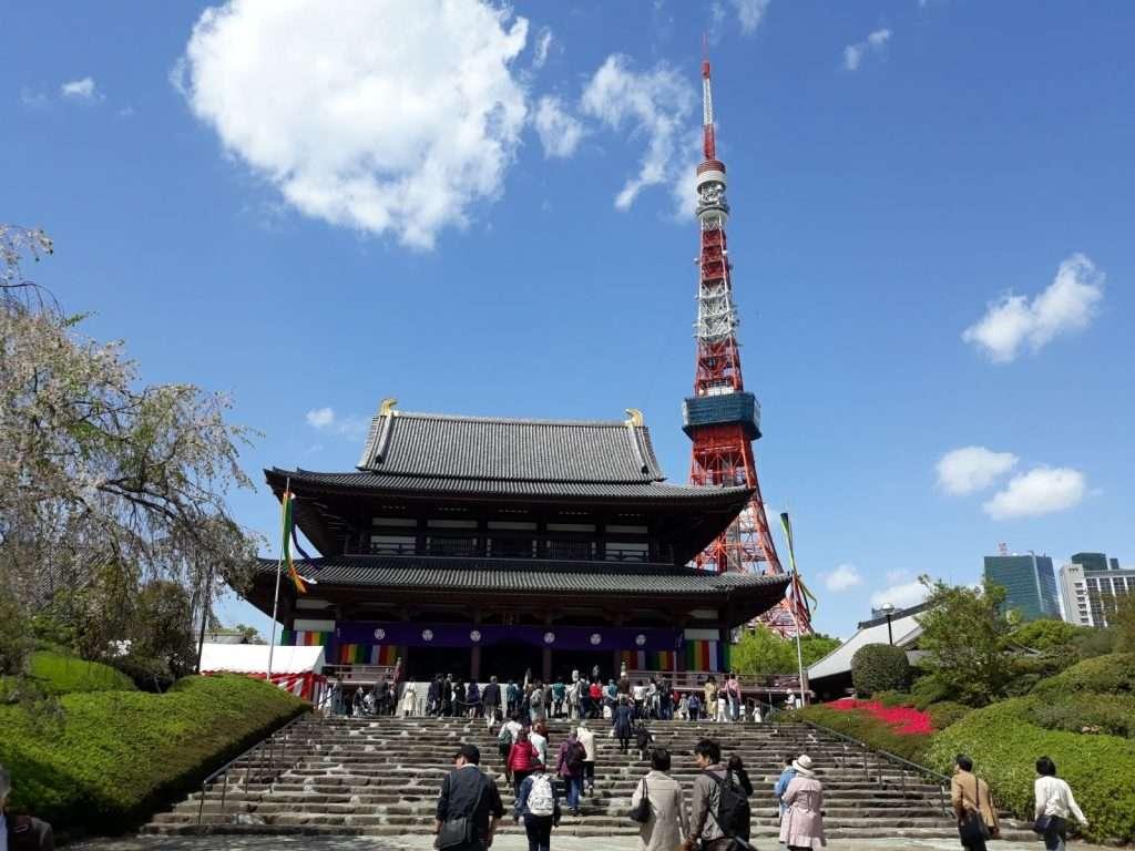 Torre de Tokio desde el templo Zojoji