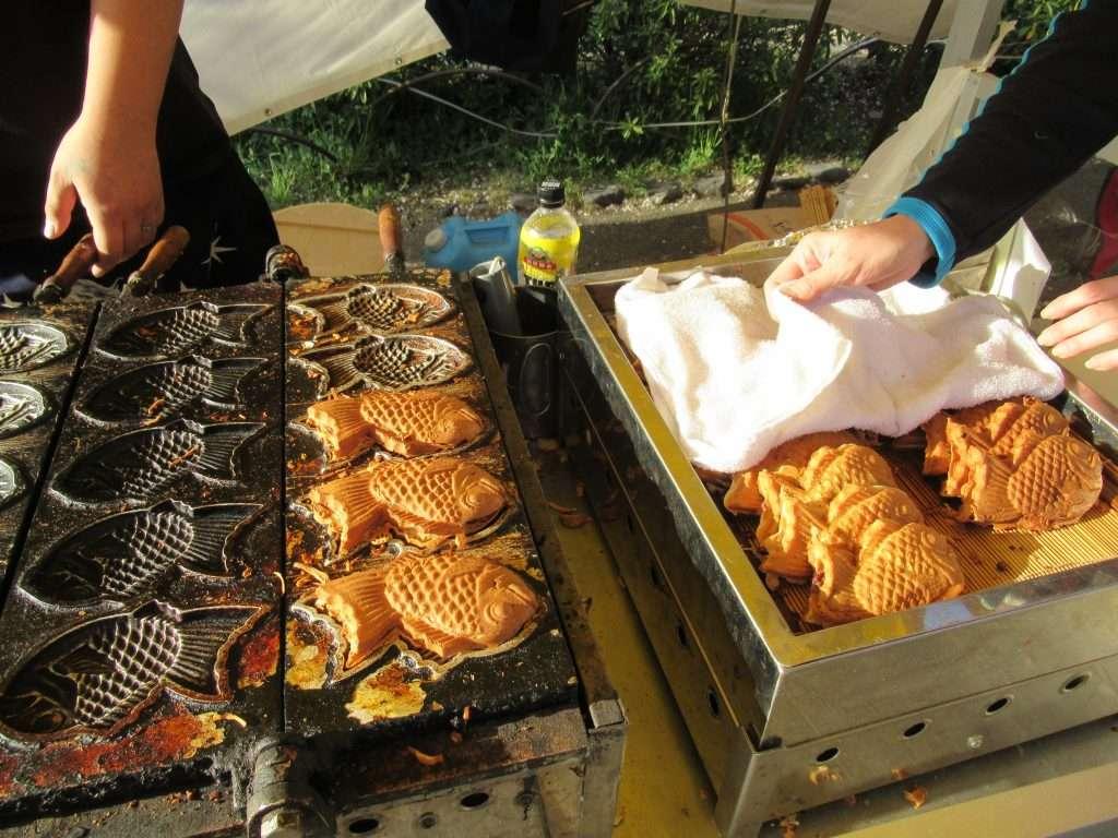 Taiyaki recién salidos del horno.