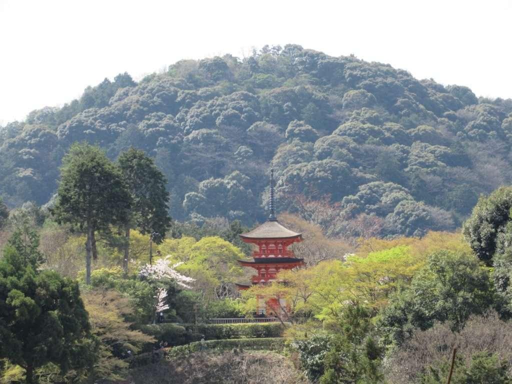 Pagoda en el templo de Kiyomizu-dera