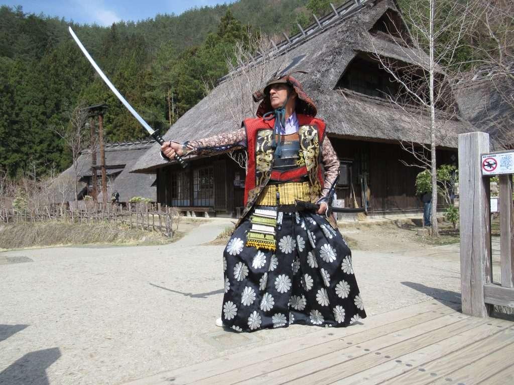 Disfraz de samurai en Saiko Iyashi No Sato Nembo
