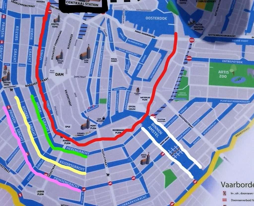 Mapa de Amsterdam con sus canales