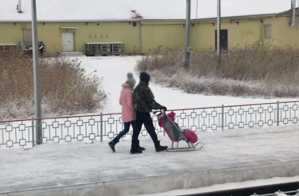 Papas con carrito-bebé de trineo