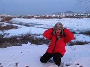 Río congelado en Ulan-Udé